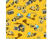 Construction Truck Digger Roller on Yellow Background