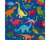 Bright Coloured Dinosaurs on a Blue Background
