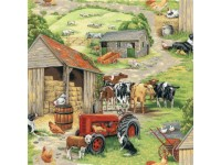 Tractor farm sheep chicken cow cows dog hay