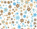 Blue and Brown Flowers Dots on White