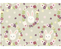 Bunny Garden on Light Grey Background Rabbit Heads in Flowers