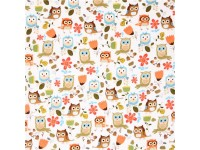 White Owl Flannel Fabric Owls