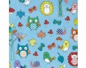 Little Forest Owls Birds Butterflies,Tree Leaves Blue Background
