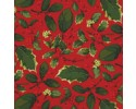 Holly Leaves & Berries on a Red Background