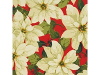 Large Cream Poinsettias on a Red Background - Martha Negley