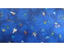 Space Ships and Space Men, Stars, Earth on Royal Blue