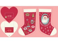 Christmas Stocking Panel 40cm x 20 cm Colour Red & Pink