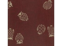 Yano Japanese Fabric owls - brown / burgundy