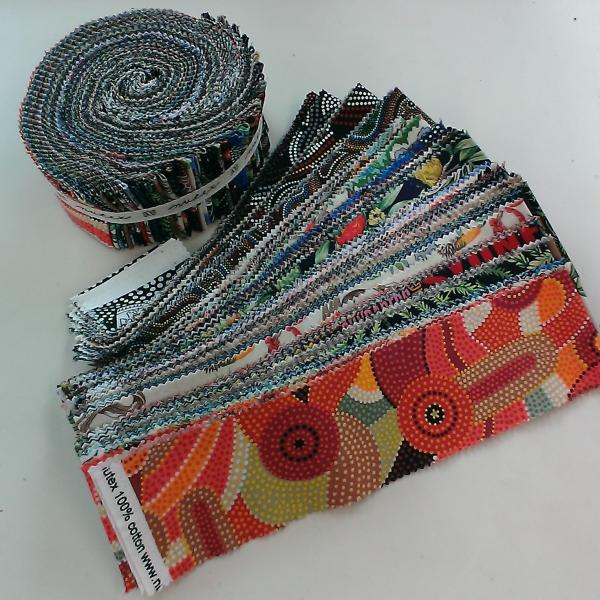 "Aussie Jelly Roll 100% Cotton 40 x 2.5"" strips - Click Image to Close"