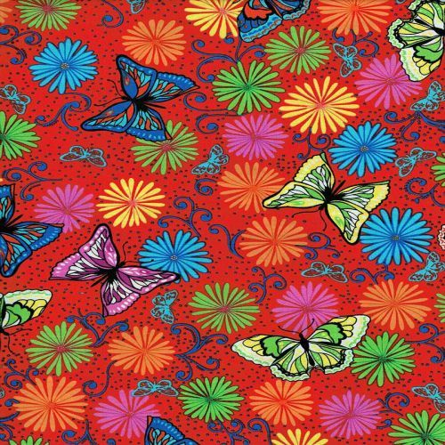 Butterfly Butterflies Flower Flowers Bright Red - Click Image to Close