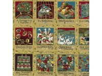 12 Days of Christmas Small Panels 8cm x 10 cm Gold Embossed