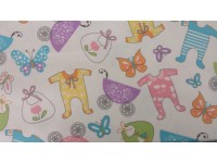 Baby Items and Butterfly - Flannel Fabric