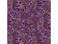 Cat-I-Tude: Feather Frolic Purple with Gold Metallic Print