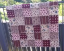 Burgundy Cotton Raggy Quilt 140cm x 140cm - Readymade