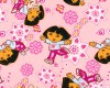 Dora the Explorer with Boots on Pink Background