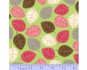 Zig Zag Collection Flannel - Brown, White, Pink & Grey Leaves