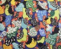Happy Hens - An Allover Print of Brightly Coloured Hens on Navy