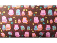Perched Night Owls Brown FLANNEL Cotton