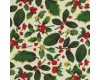 Christmas - Holly Leaves & Berries on a Cream Background