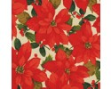 Large Red Poinsettias on a Cream Background - Martha Negley