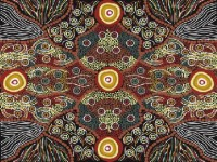 Wild Coconut Black Australian Aboriginal Fabric